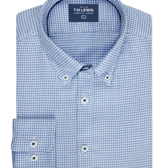 Slim Fit Blue and White Dogtooth Single Cuff Shirt 0