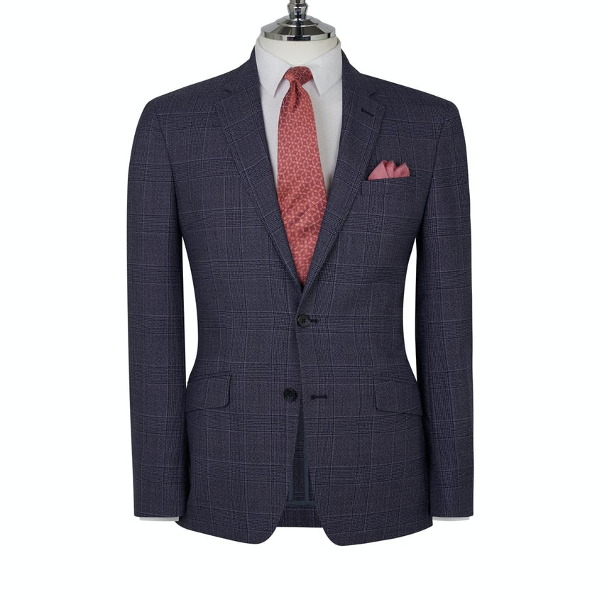 Parsons Designed in Biella Slim Fit Blue Bold Check Jacket
