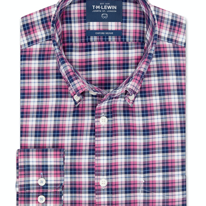 Slim Fit Navy and Pink Bold Check Shirt 0