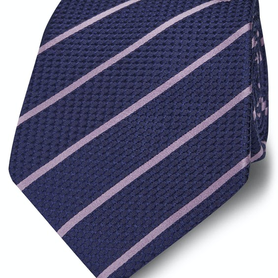 Wide Navy and Lilac Stripe Silk Tie 0