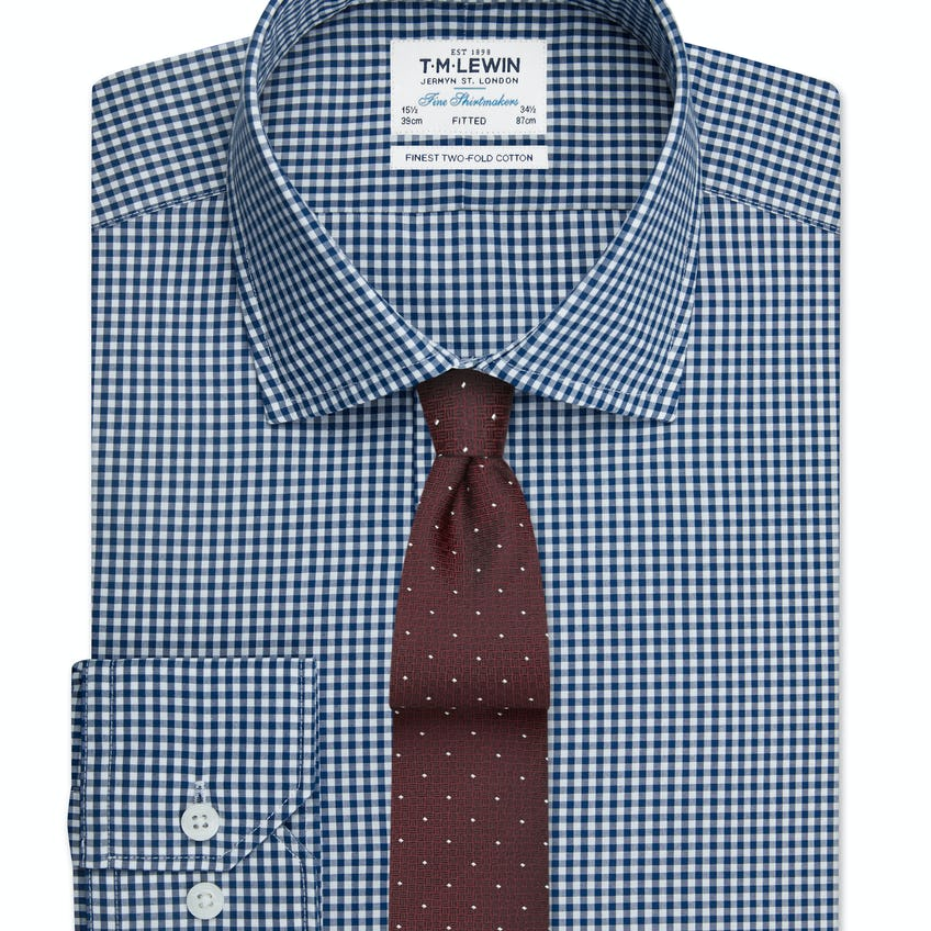 Navy Gingham Fitted Button Cuff Shirt 0