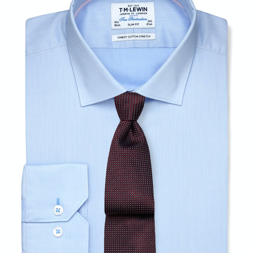 Stretch Cotton Slim Fit Blue Shirt - Button Cuff
