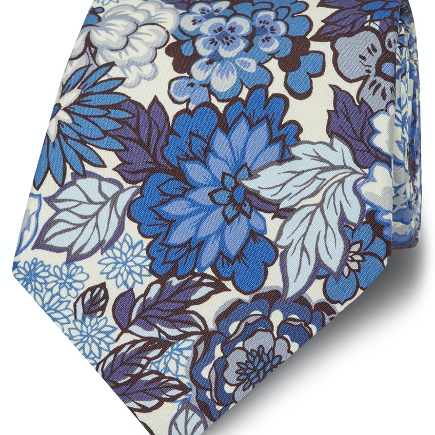 Made with Liberty Fabric Blue Royal Peony Print Tie 0