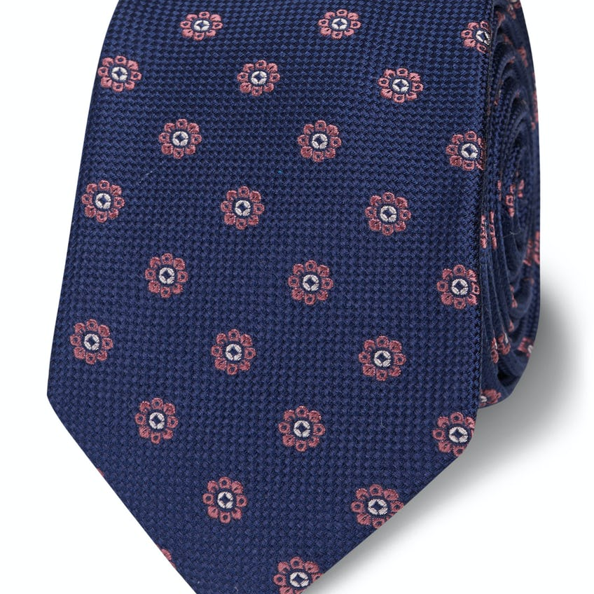 Slim Pink and Navy Woven Floral Silk Tie 0