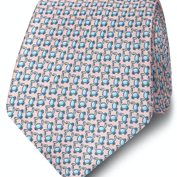 Wide Pink and Blue Crab Print Silk Tie 0