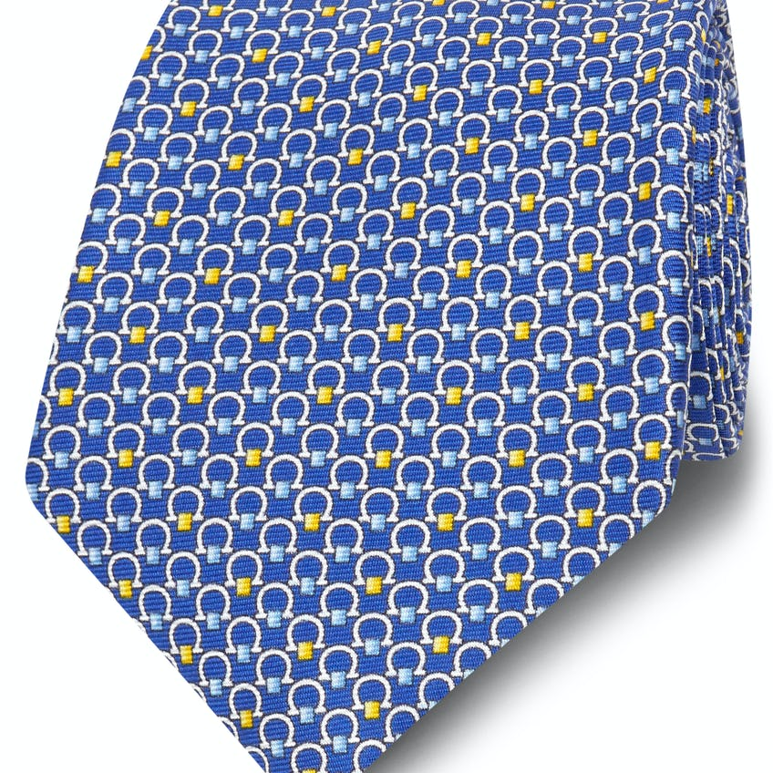 Printed Blue and Yellow Horseshoe Silk Wide Tie 0