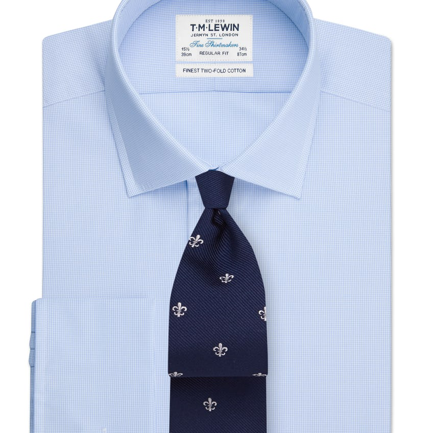 Regular Fit Blue Micro Check Double Cuff Shirt