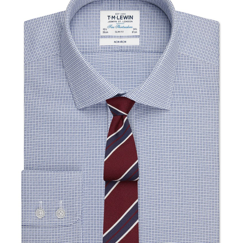 Non-Iron Geo Square Slim Fit Navy Single Cuff Shirt