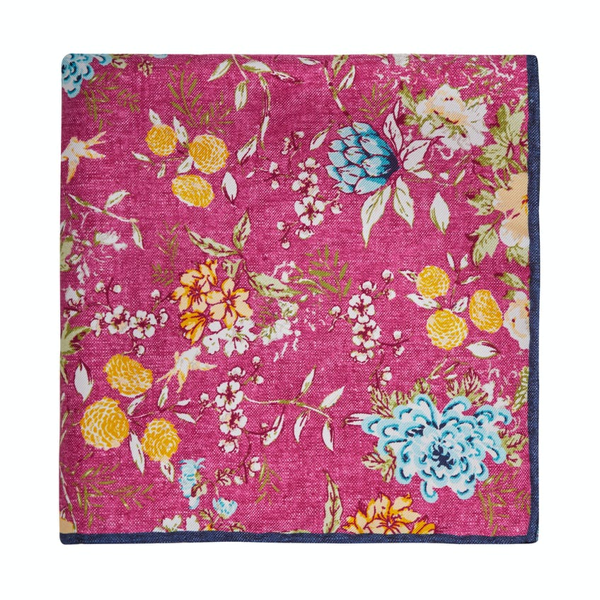 Summer Floral Pink Yellow Silk Pocket Square 0