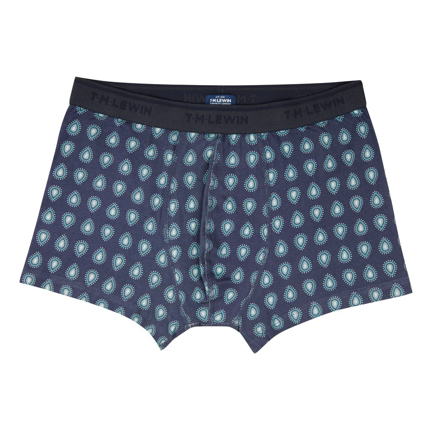Navy and Blue Paisley Cotton Stretch Boxers 0