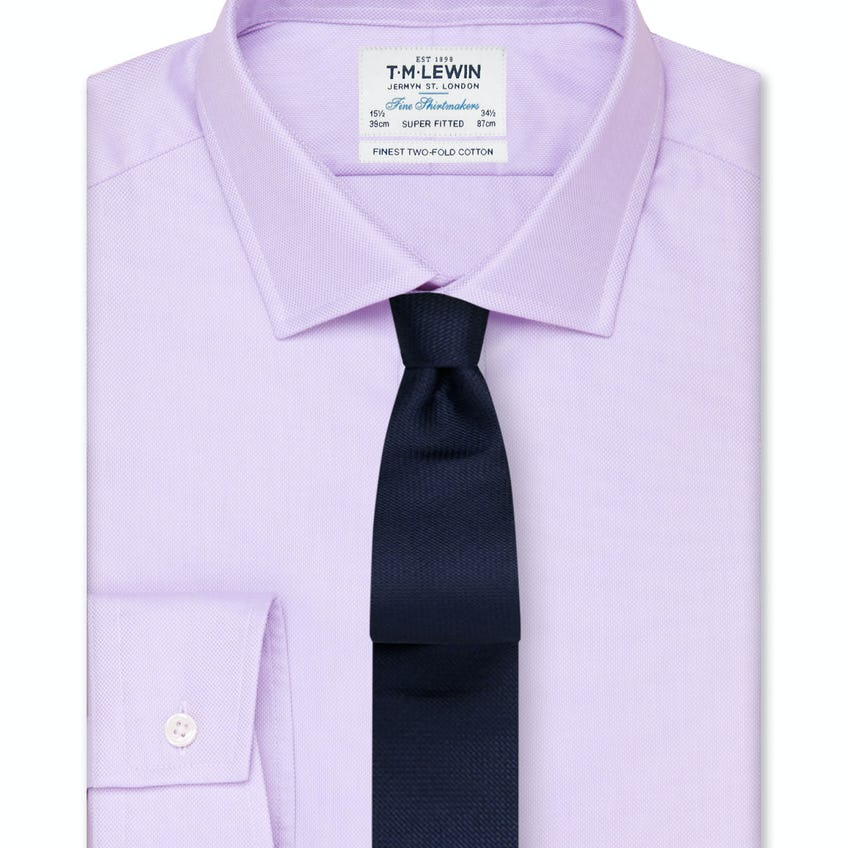 Super Fitted Lilac Oxford Button Cuff Shirt 0
