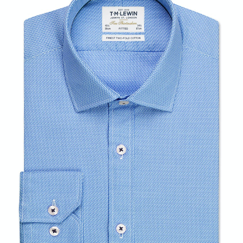 Aztec Weave Fitted Blue Single Cuff Shirt 0