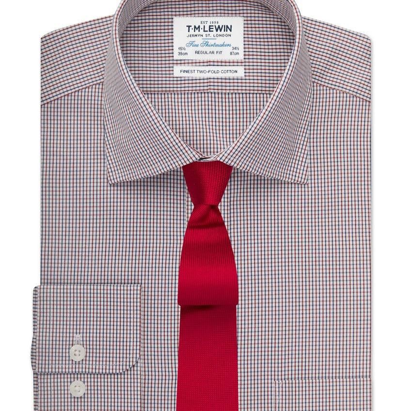 Regular Fit Navy and Red Small Check Shirt 0