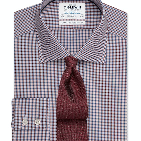 Regular Fit Burgundy and Navy Micro Check Shirt – Button Cuff 0