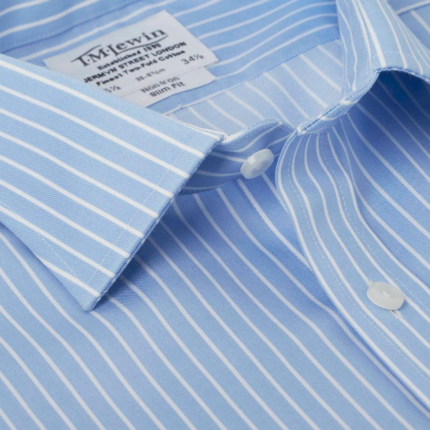 Non-Iron Blue Overstripe Slim Fit Shirt