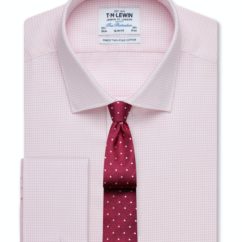 Slim Fit Pink Dogtooth Basket Weave Shirt – Double Cuff 0
