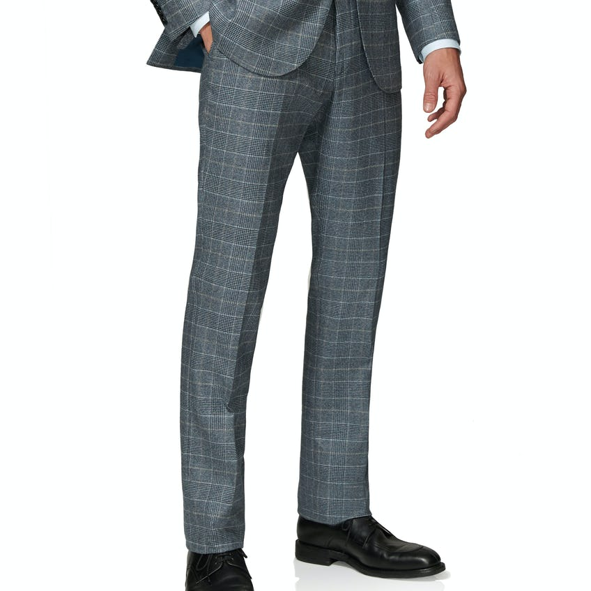 Hampstead Wool Silk Cashmere Slim Fit Blue and Taupe Check Trousers 0
