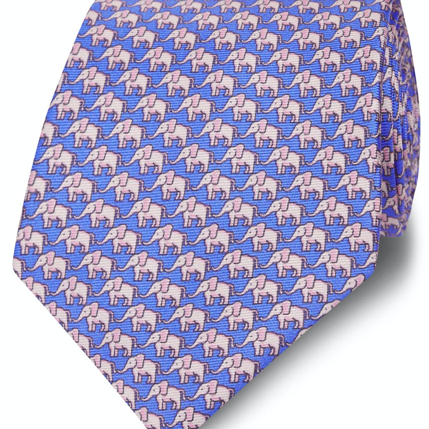 Wide Blue and Pink Elephant Silk Tie 0