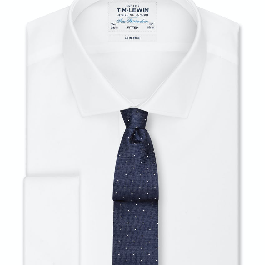 Non-Iron Fitted White Poplin Double Cuff Shirt 0
