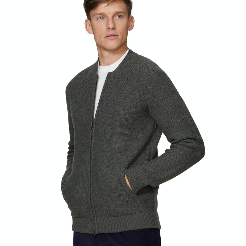 Rockall Wool Blend Charcoal Slim Fit Knitted Bomber 0