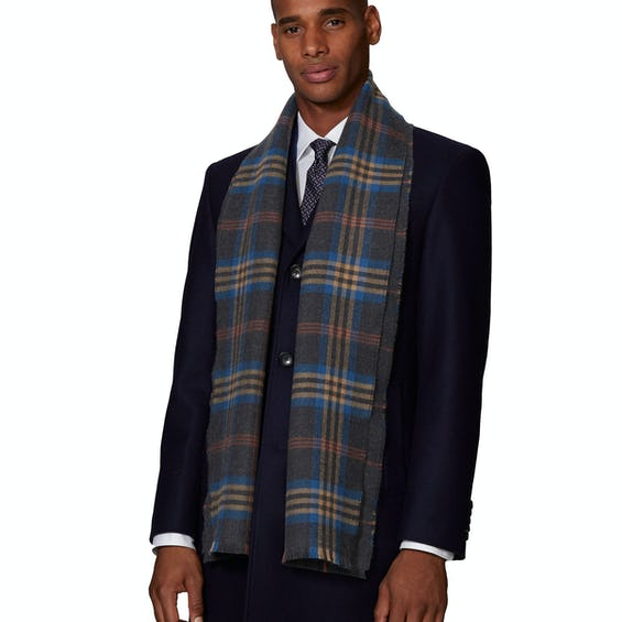 Charcoal, Blue and Rust Check Double Faced Merino Wool Scarf 0