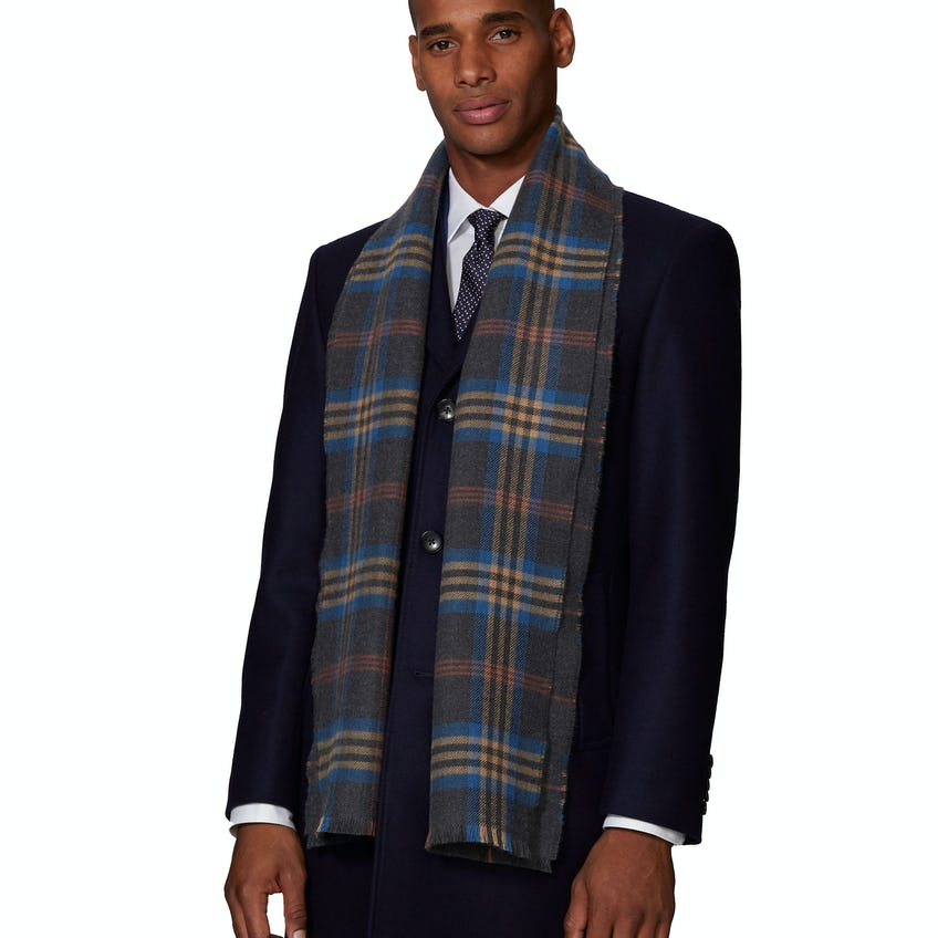 Charcoal, Blue and Rust Check Double Faced Merino Wool Scarf