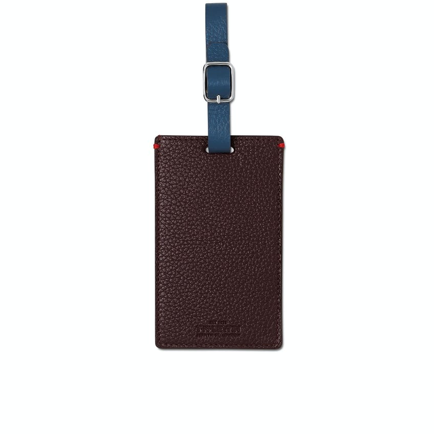 Leather Luggage Tag Burgundy Multi