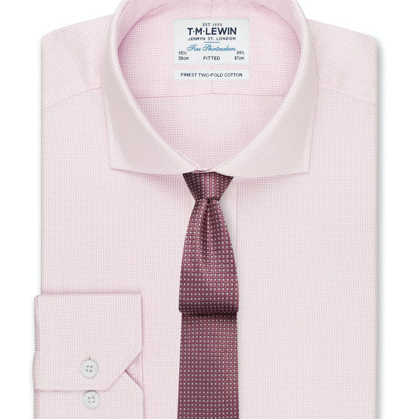 Textured Fitted Pink Dual Cuff Shirt 0