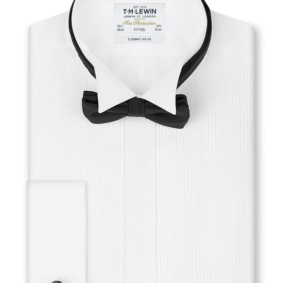 Pleated Wing Collar Fitted Evening Dress Shirt 0