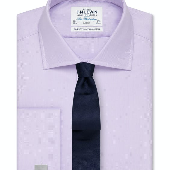 Slim Fit Lilac Oxford Double Cuff Shirt 0