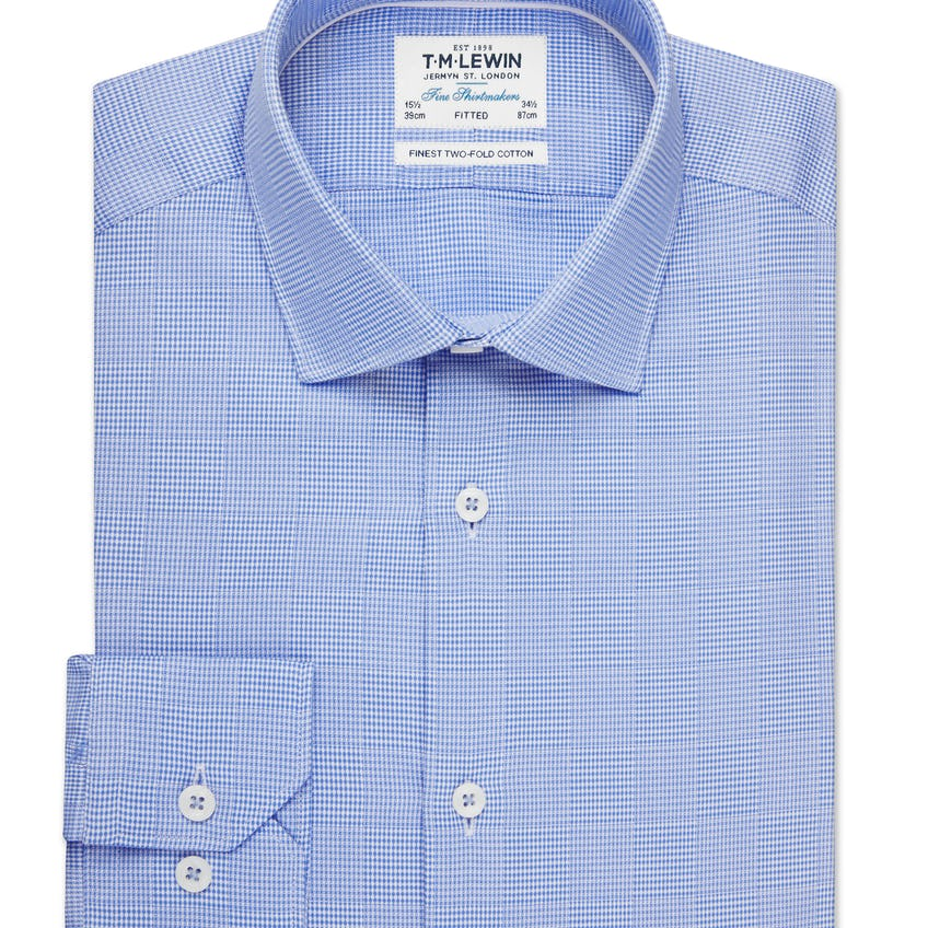 Optical Check Fitted Blue Single Cuff Shirt 0