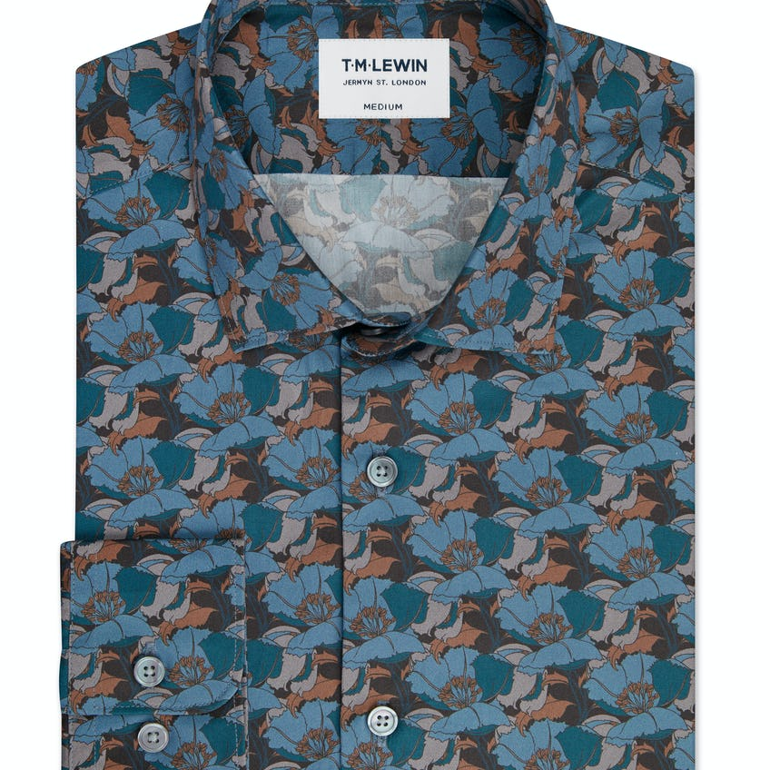 Slim Fit Blue Shirt Made with Liberty Fabric Little Eustacia Print 0