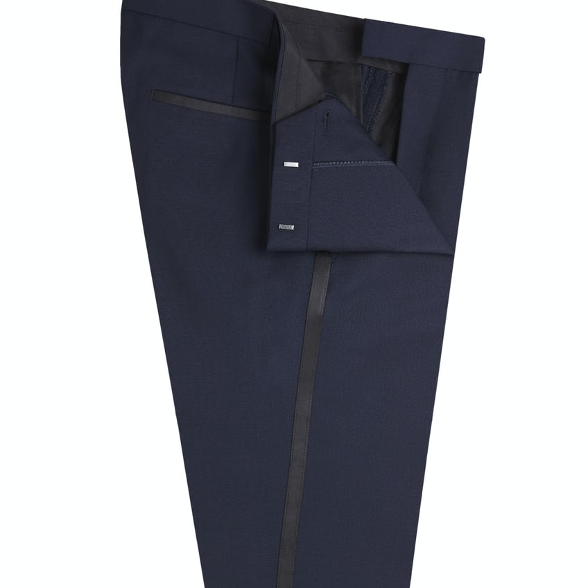 Francis Slim Fit Midnight Blue Wool Mohair Dinner Trousers 0