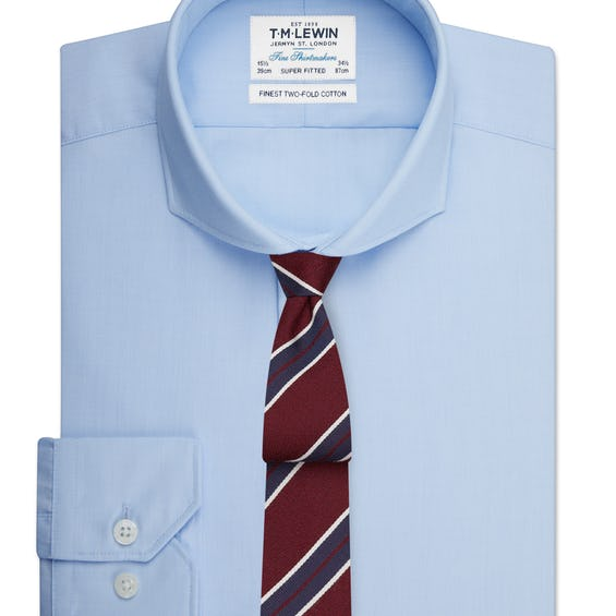 Super Fitted Light Blue End-on-End Cutaway Collar Shirt 0