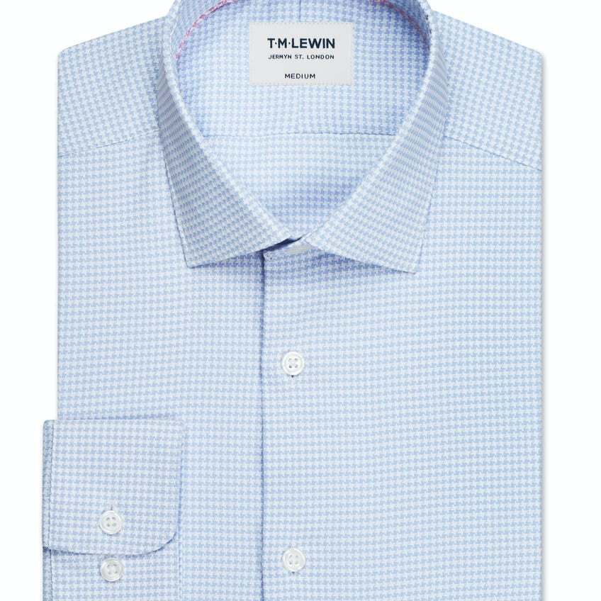 Travel Collection Slim Fit Blue Dogtooth Button Cuff Shirt 0