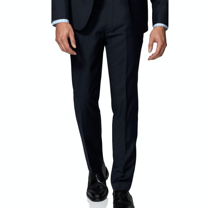 Budd Skinny Fit Navy Twill Wool BlendTrousers 0