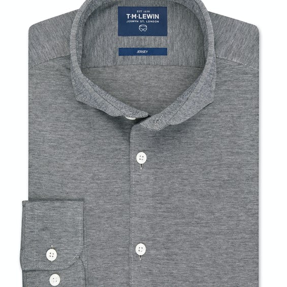 Pique Jersey Fitted Grey Chambray Shirt 0