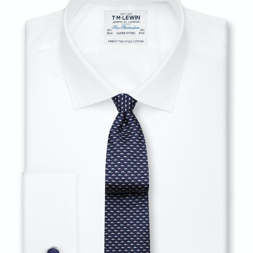 Super Fitted White Oxford Double Cuff Shirt 0