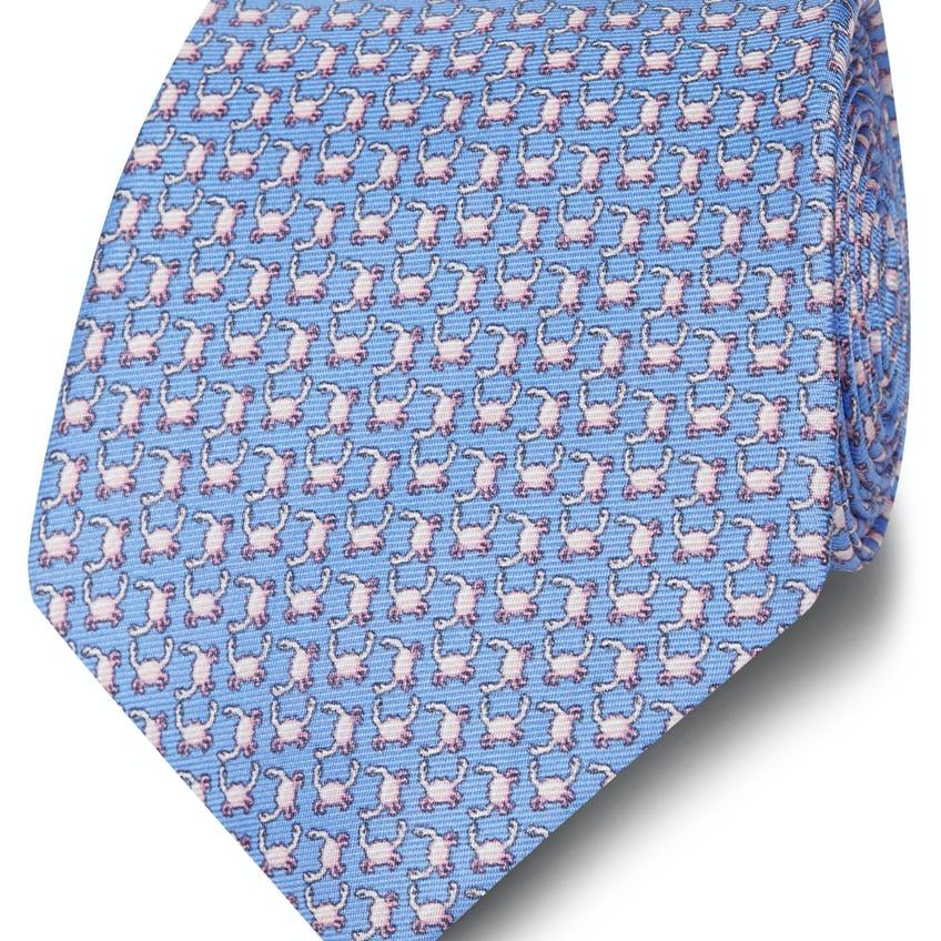 Made in Italy Wide Blue and Pink Crab Silk Tie 0