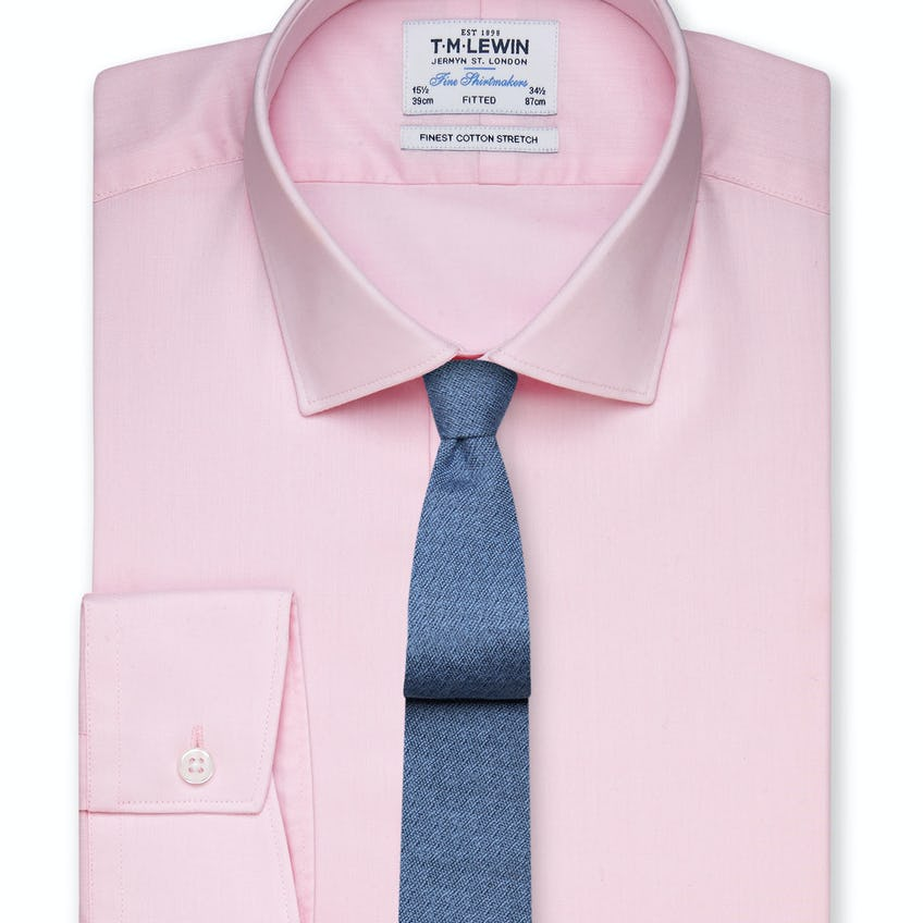 Stretch Cotton Fitted Pink Shirt - Button Cuff