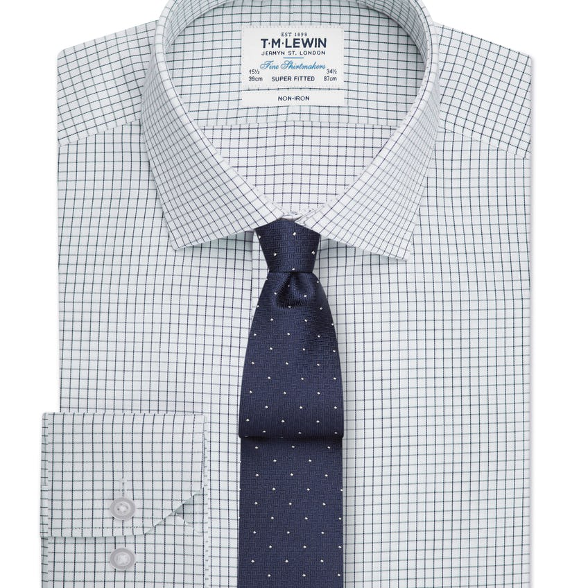 Non-Iron Super Fitted Navy Check Single Cuff Shirt 0