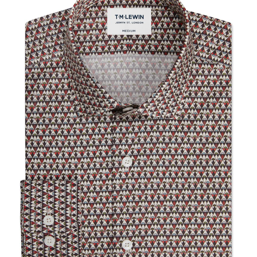 Slim Fit Red ShirtMade with Liberty Fabric Grenada Print 0