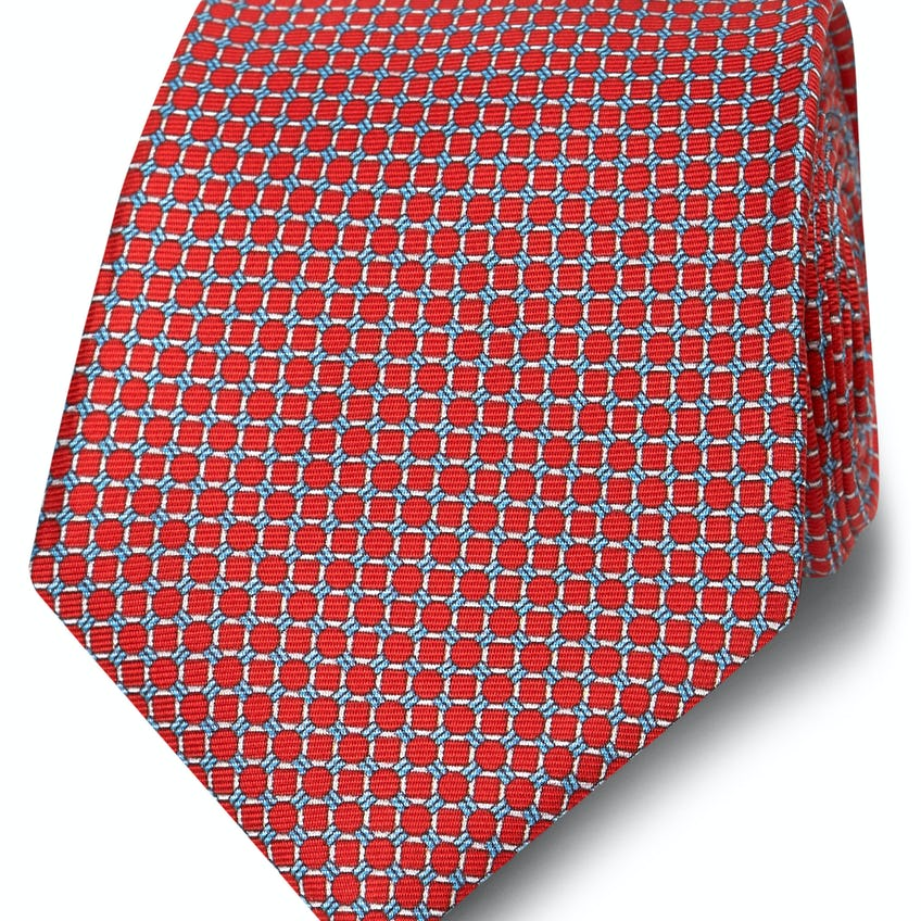 Wide Red and Blue Small Chain Silk Tie 0
