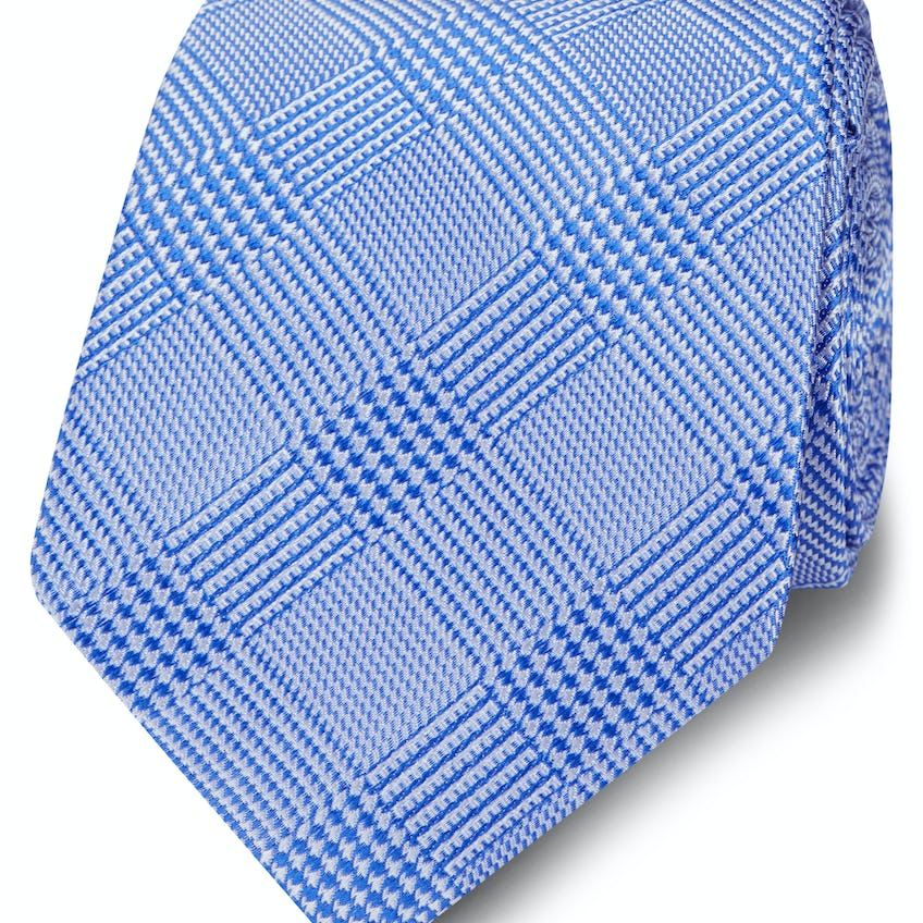 Wide Blue Prince of Wales Check Silk Tie 0