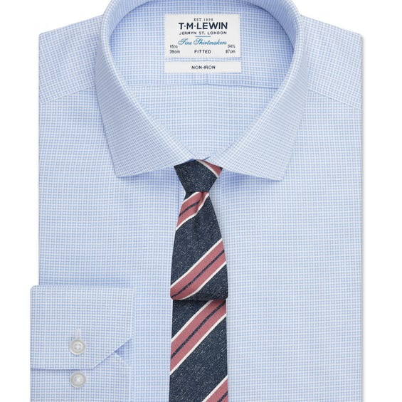 Non-Iron Fitted Blue Geo Square Single Cuff Shirt 0