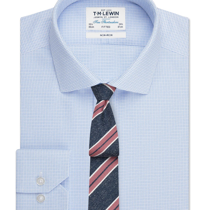 Non-Iron Fitted Blue Geo Square Single Cuff Shirt