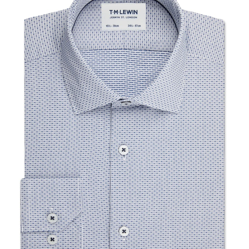 Dobby Check Slim Fit Navy Single Cuff Shirt