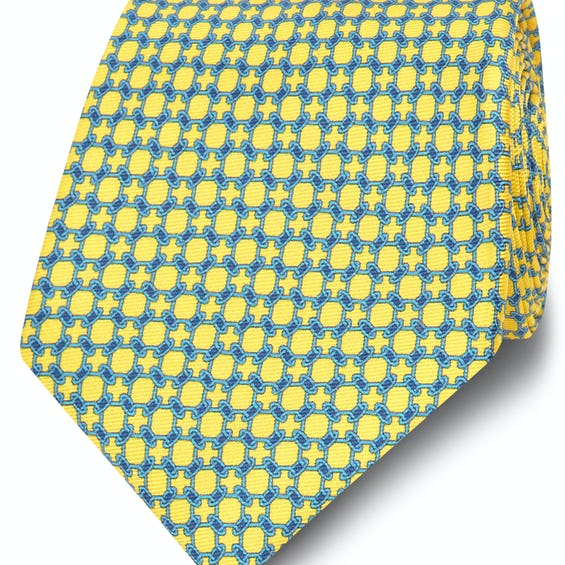 Printed Yellow and Blue Chain Link Silk Wide Tie 0
