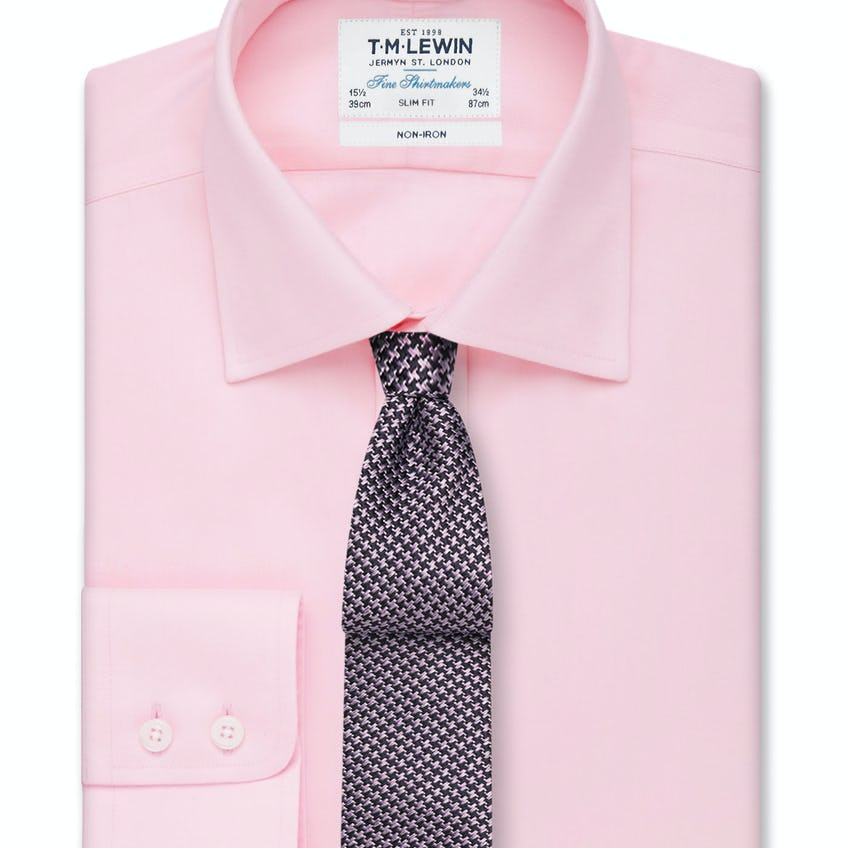 Non-Iron Pink Twill Button Cuff Slim Fit Shirt