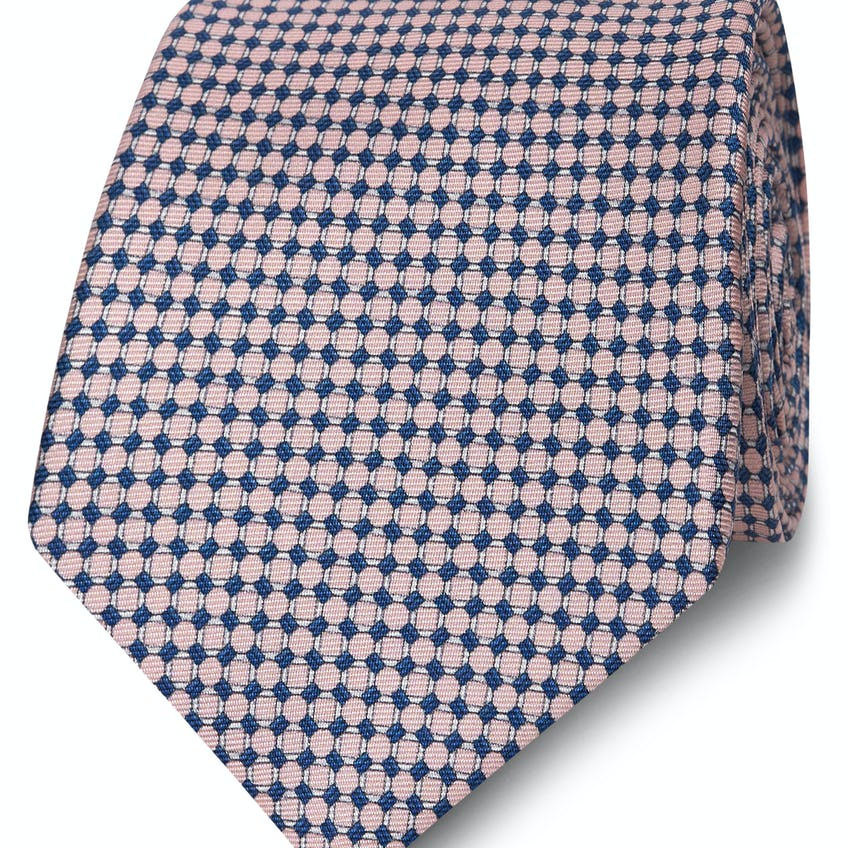 Wide Pink and Navy Small Chain Silk Tie 0